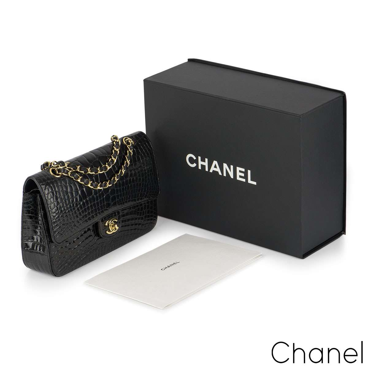 Chanel Medium Black Alligator Double Flap Bag